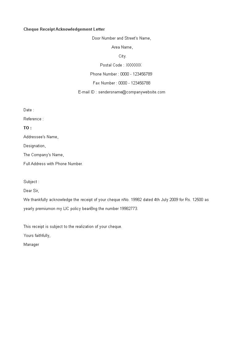 Cheque Receipt Acknowledgement Letter Templates At Allbusinesstemplates Com Letter Templates Lettering Download Receipt