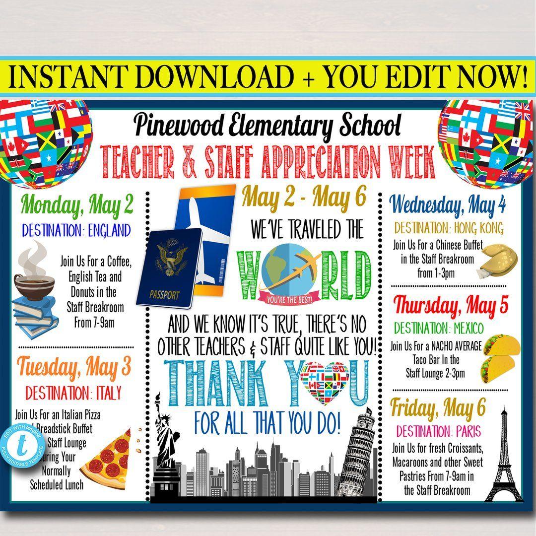 Around the world international themed teacher appreciation