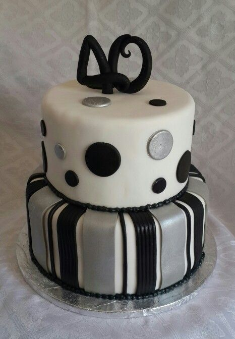 40th Birthday Cake For Man Black And White And Silver