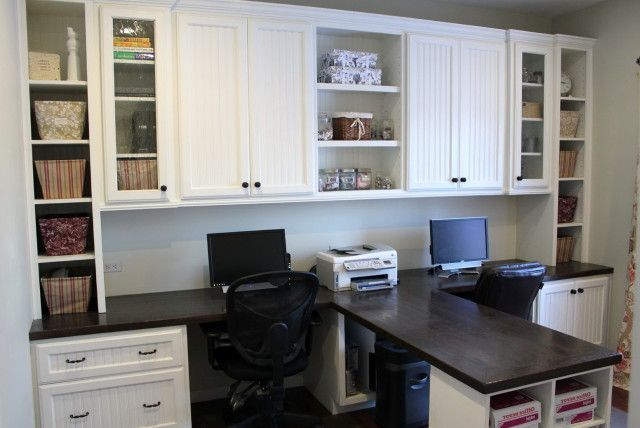 T Shaped Desk Home Office Home Office Cabinets Office Built Ins