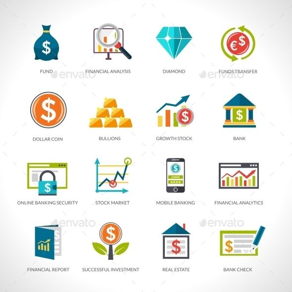 Financial Analysis Icons Set  Financial Analysis Icons And Icon Set
