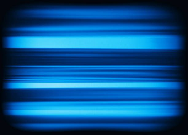 horizontal vivid blue interlaced tv static noise lines ...
