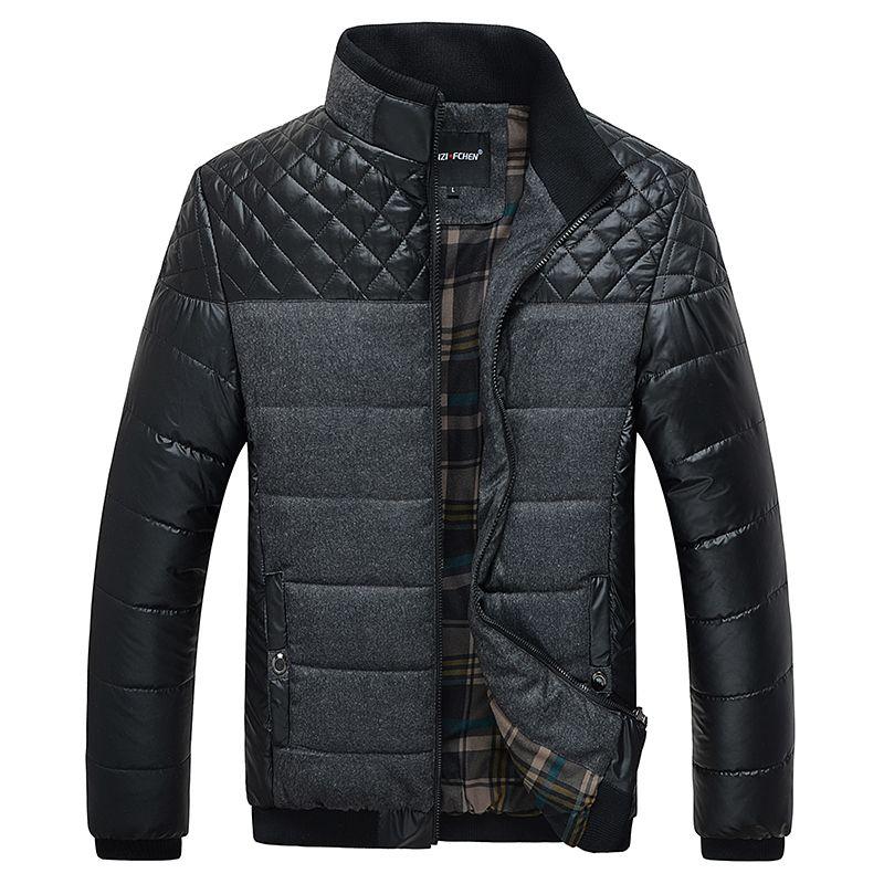 Classic Men Fashion Warm Jackets Plus Size L-4XL Patchwork Plaid ...