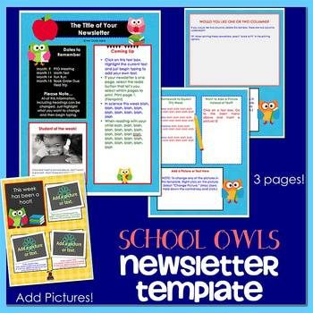 OWLS SCHOOL - Newsletter Template WORD Teaching Pinterest - newsletter template for word