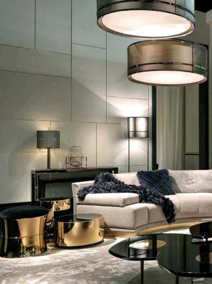 Fantastisch Moderne Wohnzimmer Wandgestaltung Große Platten Hängende Leuchten
