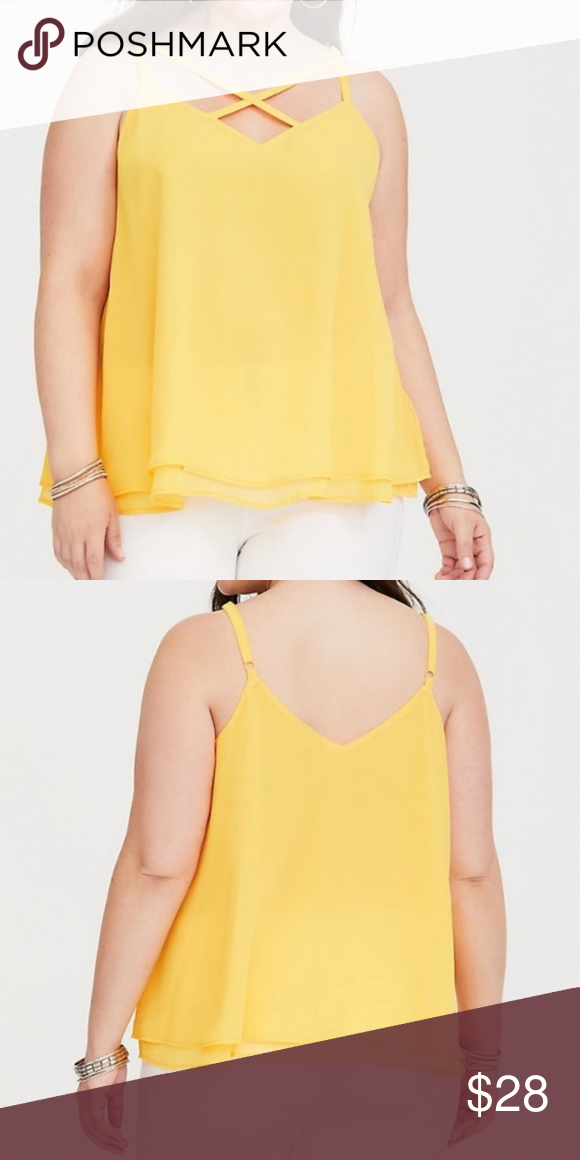 48ad6730c45 TORRID Top 5X Blouse Chiffon Yellow Layered Cami  DOUBLE YELLOW LAYERED  STRAPPY FRONT CHIFFON TOP