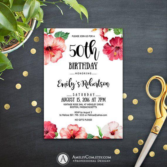 destination birthday party invitations printable tropical hawaii