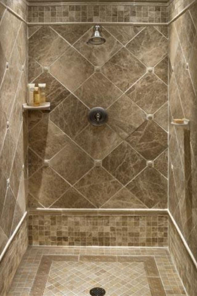 Small Tiles Floor And Large Diamond Cut Shape Tiles For Shower Wall Small  Single Floating Shelf