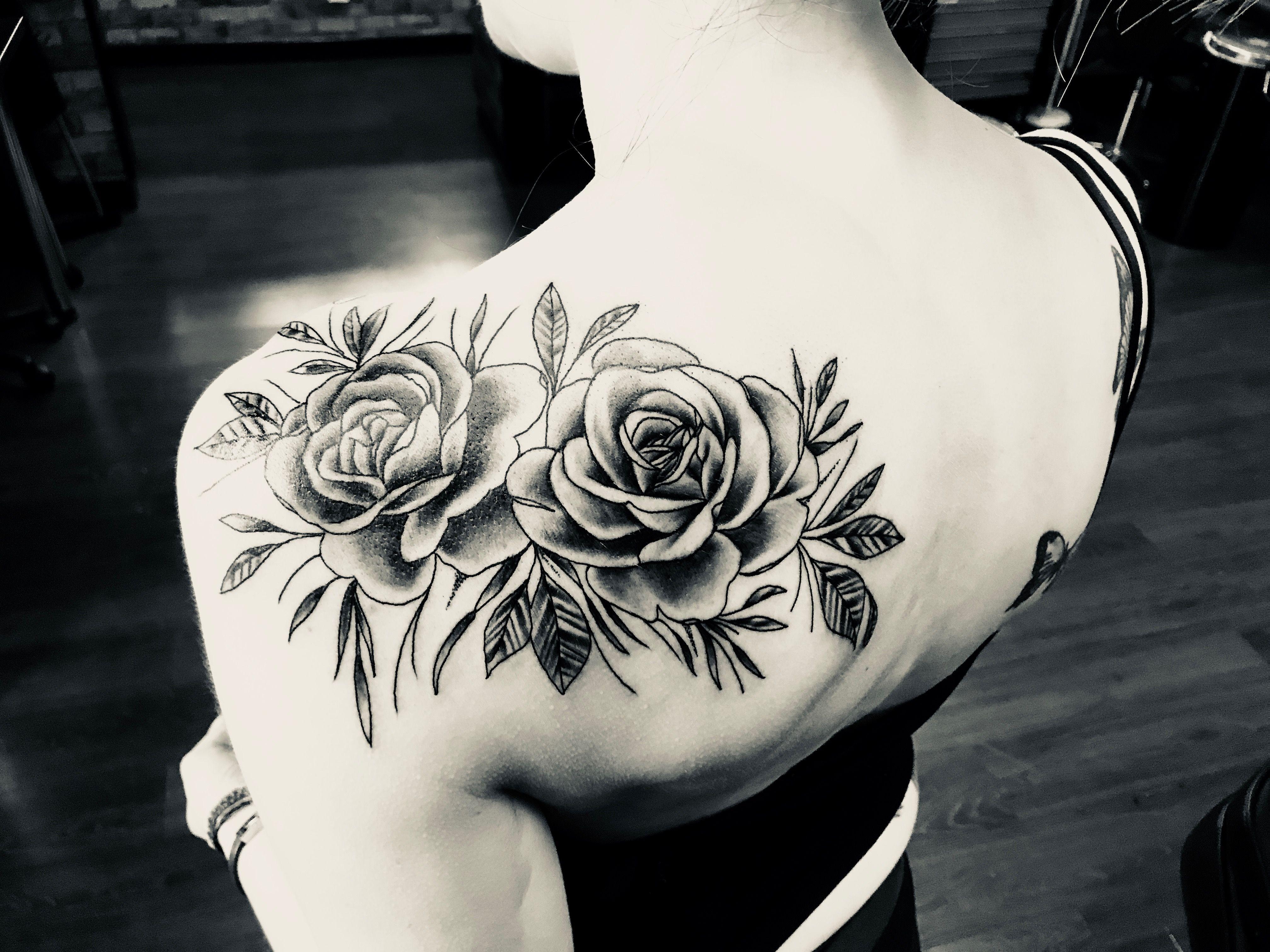 Rose shoulder tattoo in black & shading