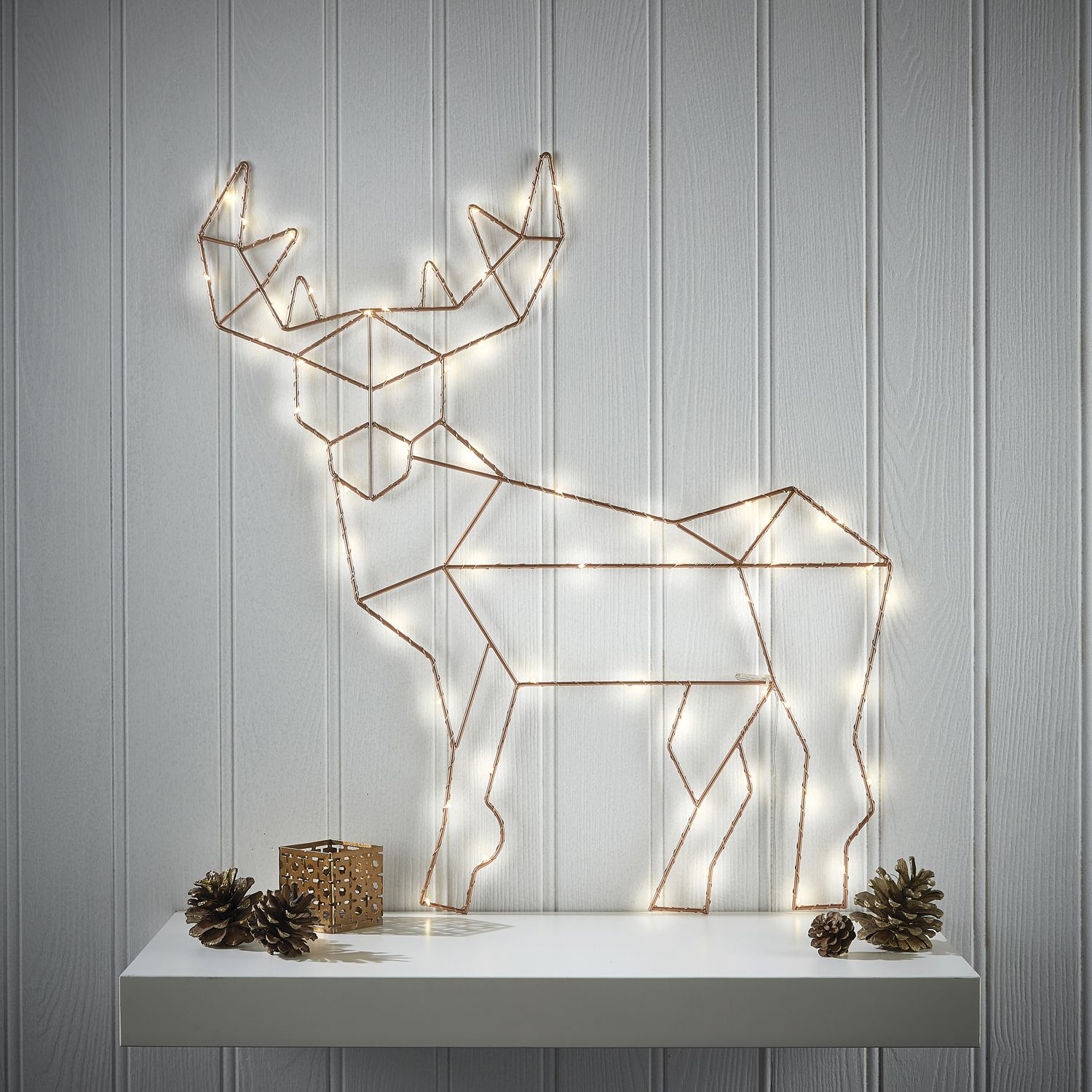 Christmas Warm White LED Copper Reindeer Decoration | Christmas ...