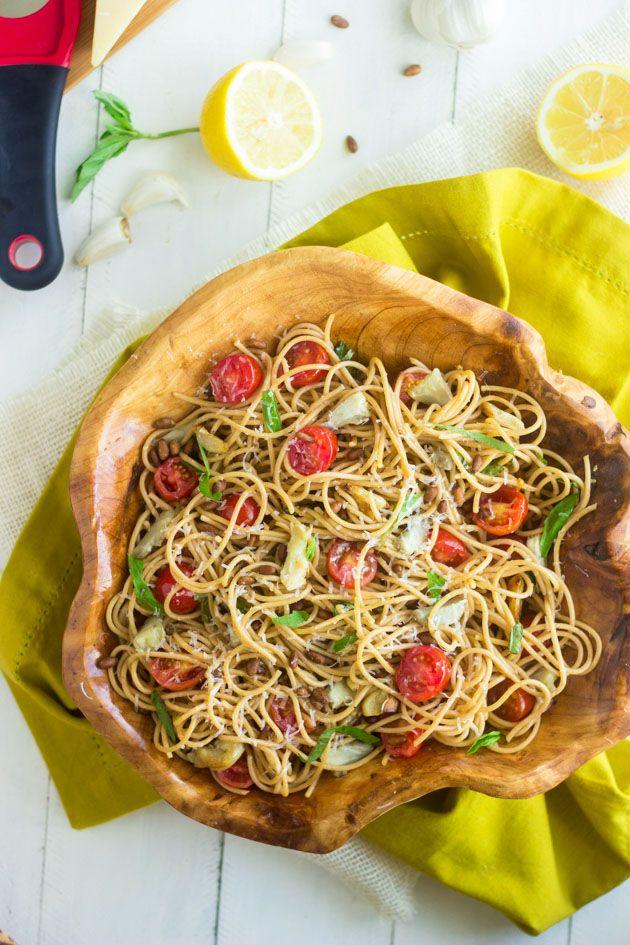 Artichoke Pasta Salad with Lemon Vinaigrette - An easy, healthy meal or side dish!