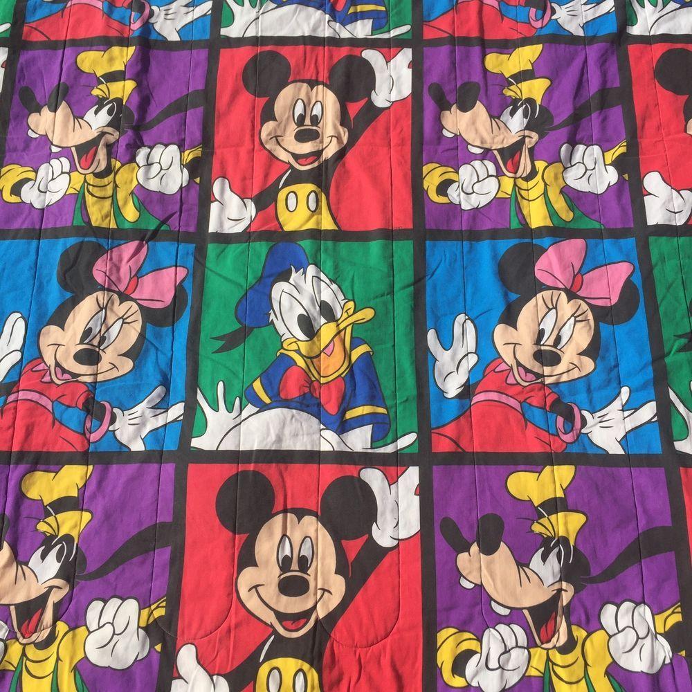 Details About Vintage Disney Twin Comforter Mickey Minnie Goofy