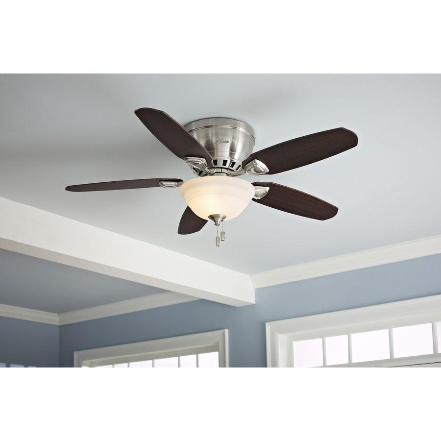 Shop Hunter Louden 46 In Brushed Nickel Flush Mount Ceiling Fan With Light Kit At Lowes Com Ceiling Fan With Light Ceiling Fan Flush Mount Ceiling Fan