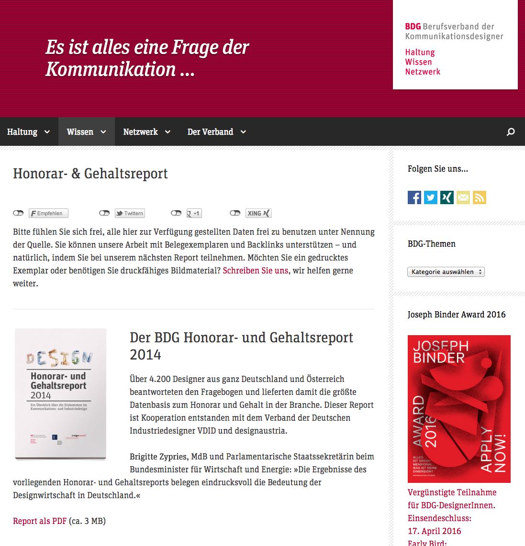 BDG Berufsverband der Deutschen Kommunikationsdesigner. Gehaltreporte und andere Wissen und Tipps. http://bdg-designer.de/ #Design #Job