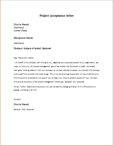 Project Acceptance Letter Download At HttpWriteletterCom