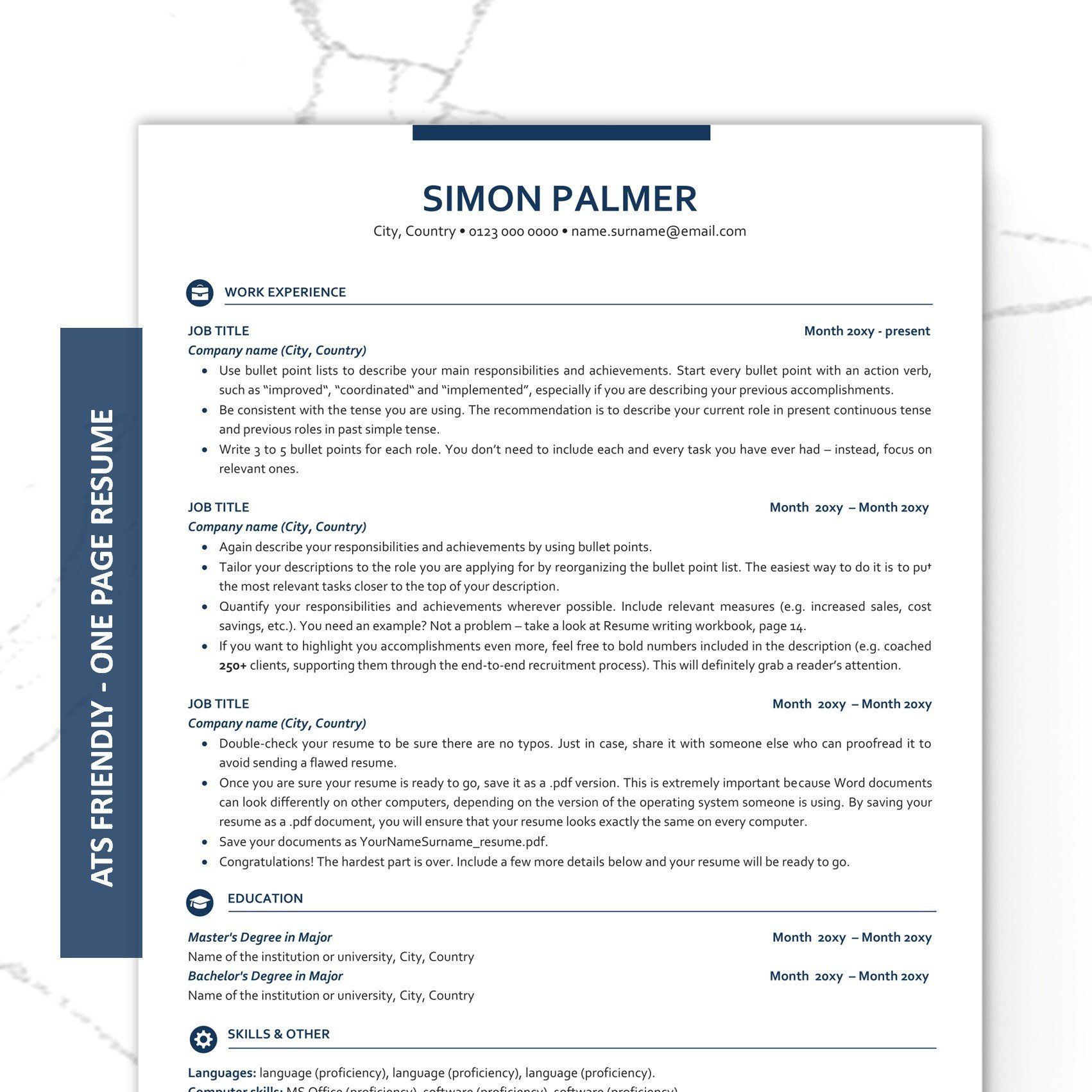 Executive Resume Template, ATS friendly Resume with Icons
