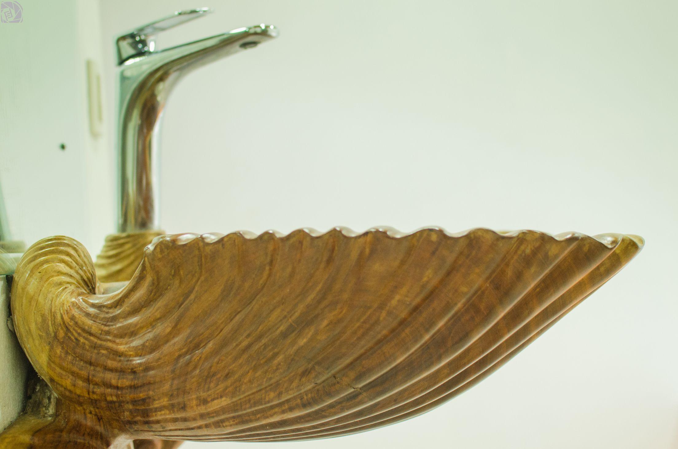 Lavamanos madera guapinol forma de concha de mar casa for Lavamanos rusticos de madera
