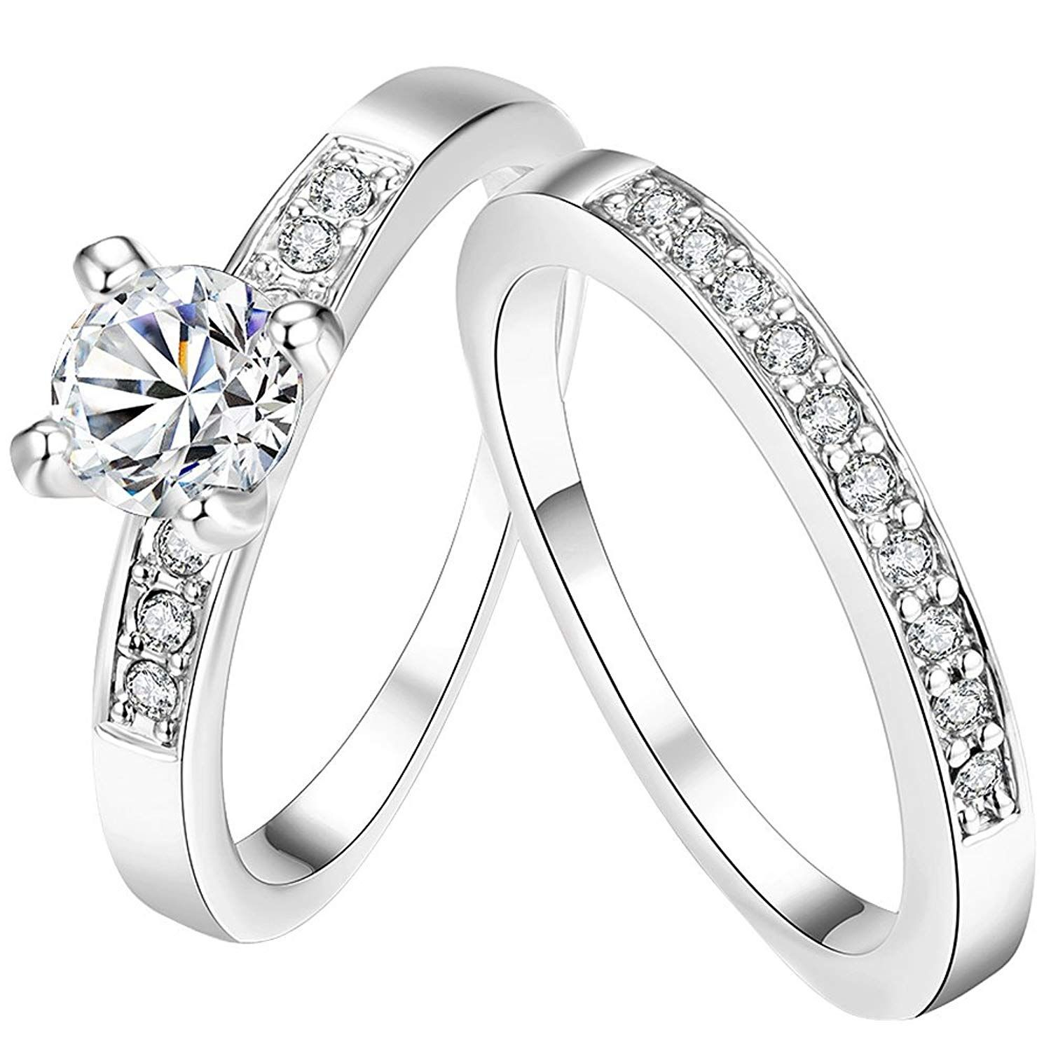 Awly Women S Pretty 18k White Gold Plated Solitaire Cz Crystal