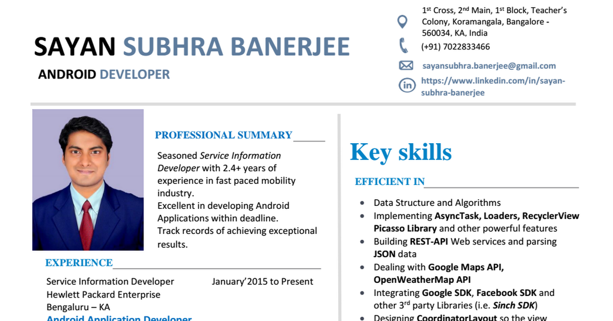 Visual Resume Of Sayan Subhra Banerjee Android Developer Format