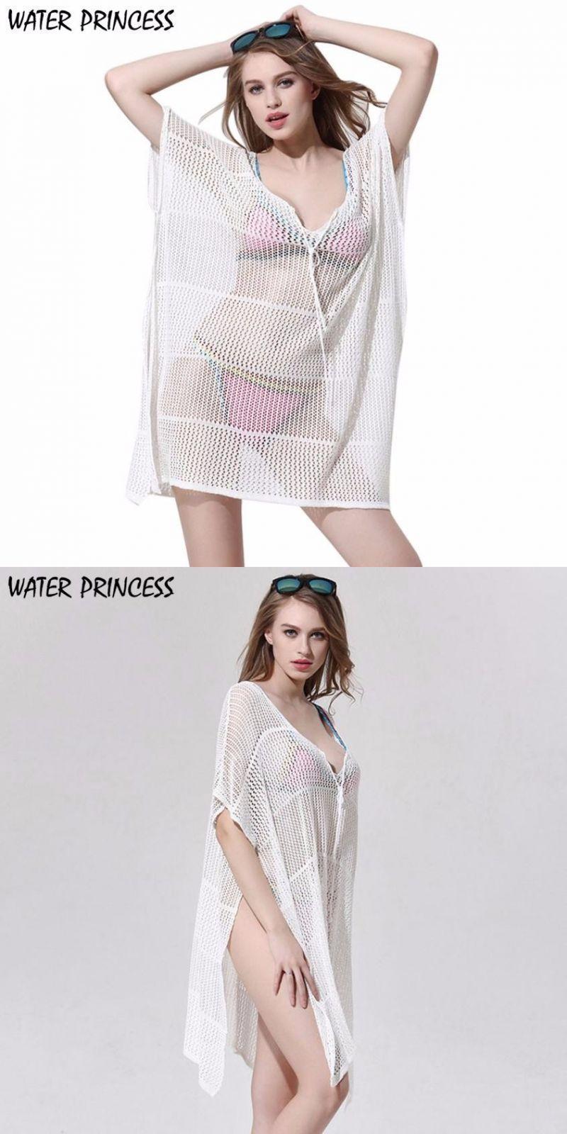 Women Bikini Cover Up Hollow Crochet Swimsuit Beach Tunic Long Shirt Solid Buy One Give One Women's Clothing