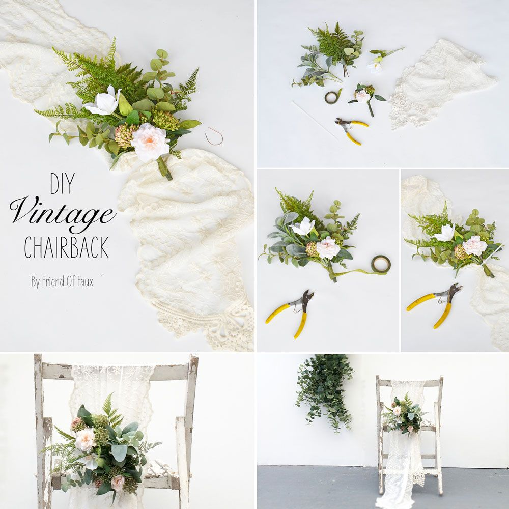 Wedding decorations to make  DIY Chair Sash  Chair sashes Silk flowers and Lace table runners
