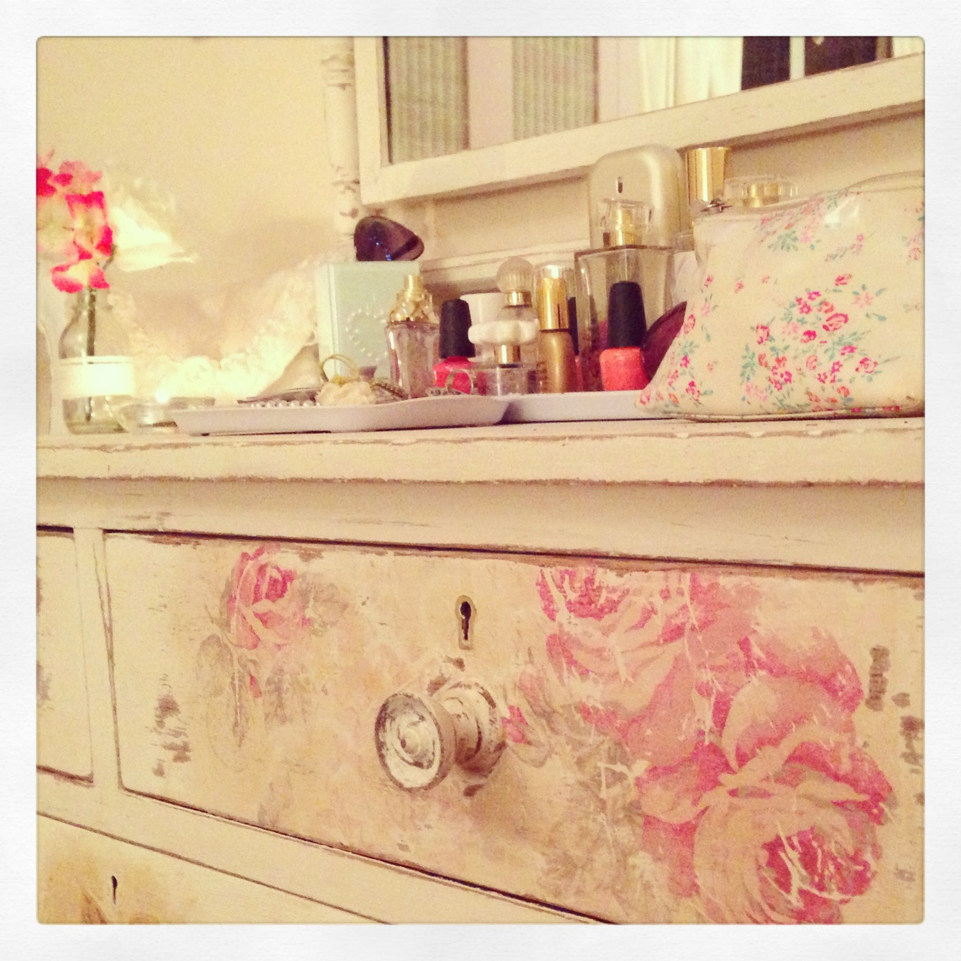 Distressed decoupage on a beautiful dressing table....I love my ...