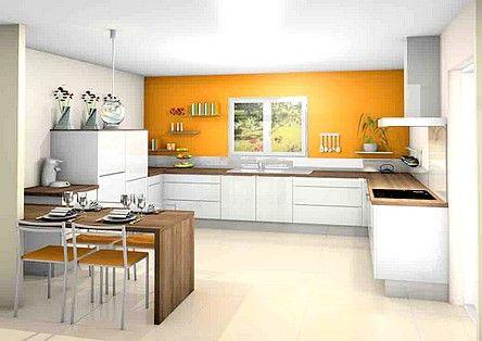Cuisine blanche orange plan de travail en bois cuisine Couleur plan de travail cuisine