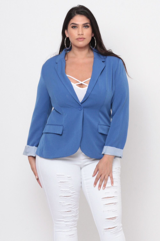 Plus Size Working Girl Blazer Royal Blue Moda Tallas Grandes Moda Para Gorditas Moda