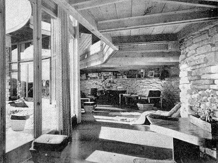 Architecture Photography History herbert jacobs house. living-room. frank lloyd wright