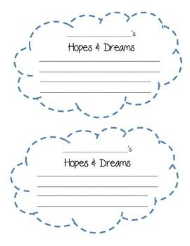 Template For Hopes Dreams Great Use With The First 6 Weeks Of School In Responsive Clroom Also Available Spanish