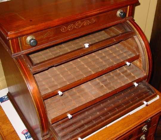 Walnut Cylinder Roll Spool Cabinet Vintage Boxes Wooden