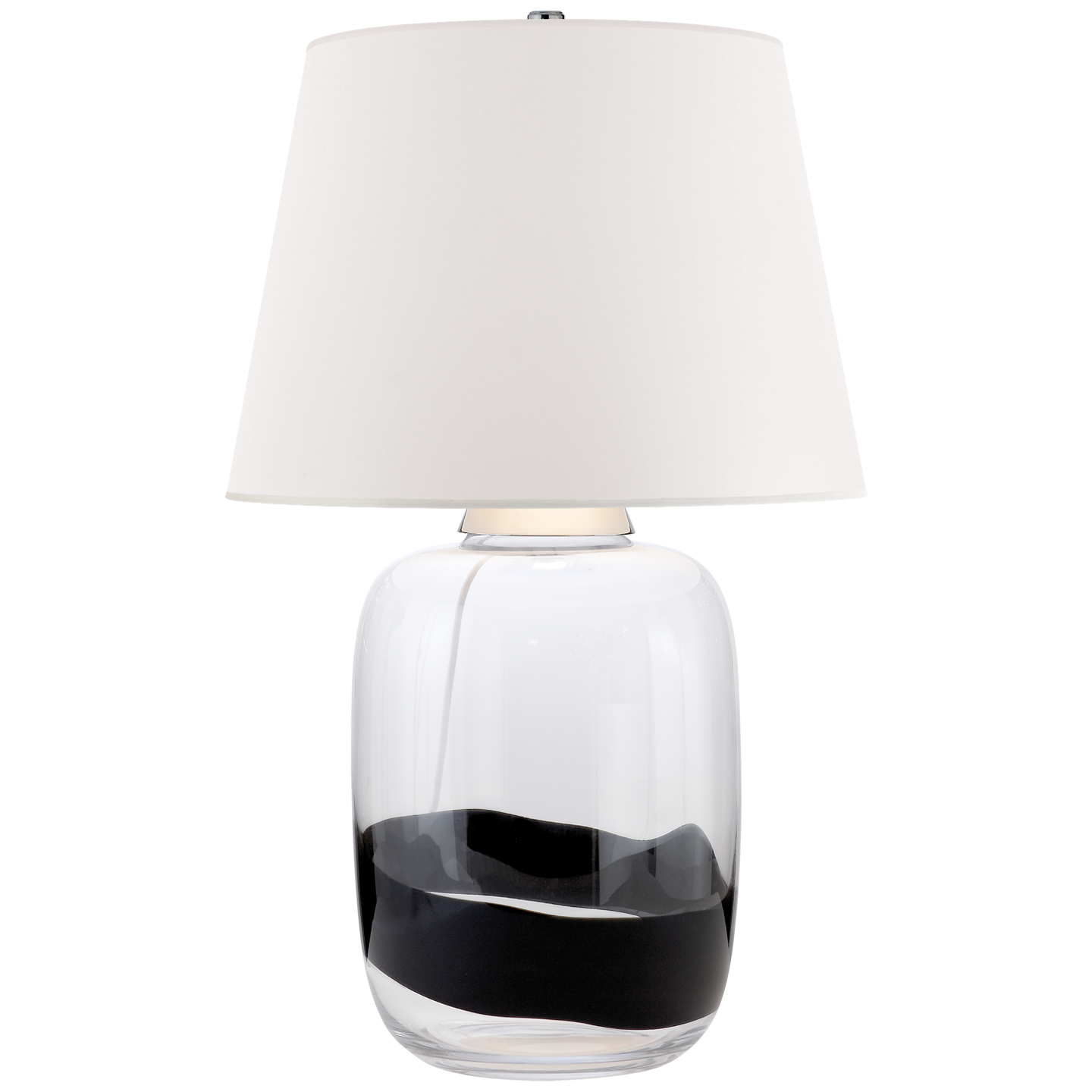 Adela Large Table Lamp In Clear And Black Glass With White Paper Shade Lamp Table Lamp Large Table Lamps