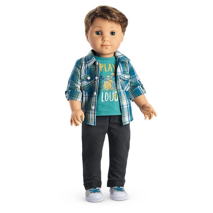"Green Striped Santa Pajamas for 18/"" American Girl Boy Logan Doll CHRISTMAS"
