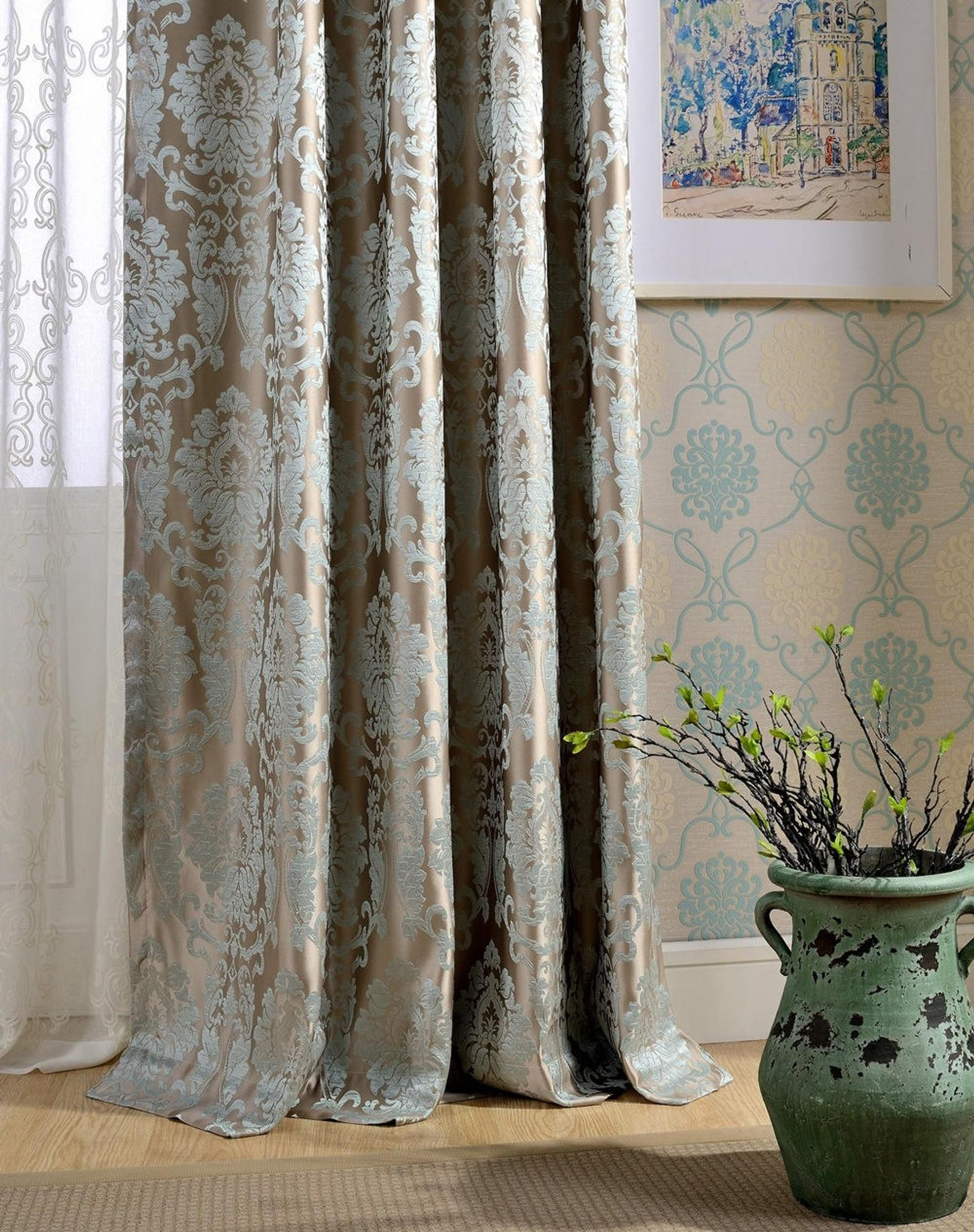 A Pair Of Damask Curtains Made To Order Dense Jacquard Etsy Damask Curtains Curtains Panel Curtains