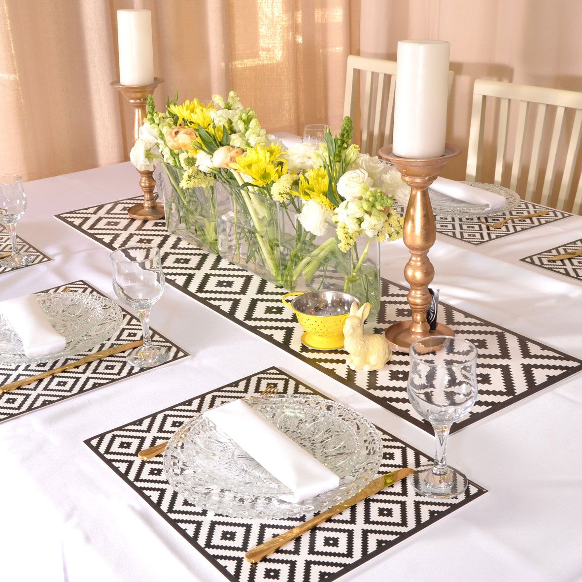 Black White Geometric Placemat Set Scandinavian Style Heat Resistant Table Top Table Runner Functional Decorative Dinnerware Table Runner Size Decorative Dinnerware Bbq Table