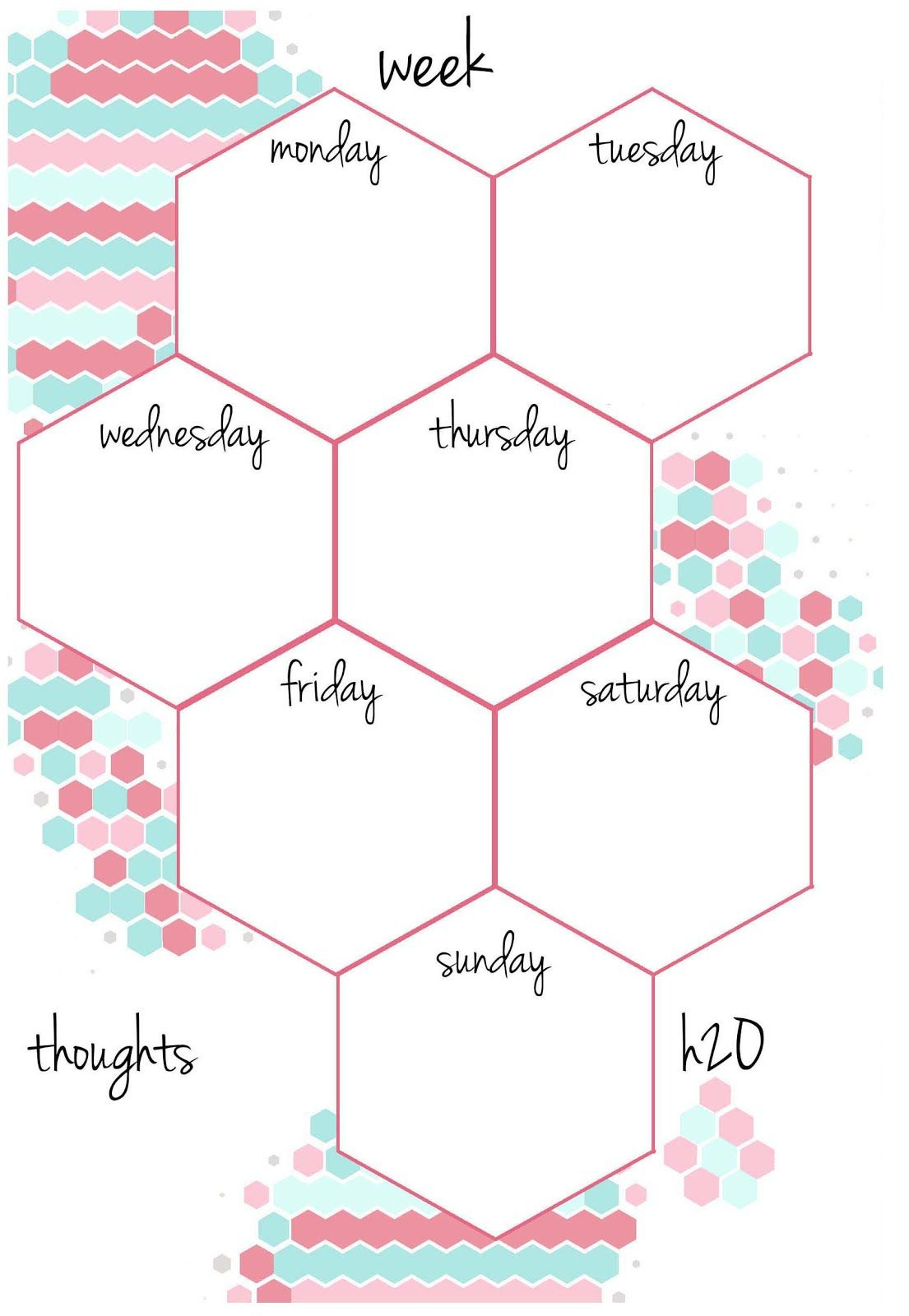 CANDY HEXAGON Planner Inserts | Undated A5 & A6 week on a ...