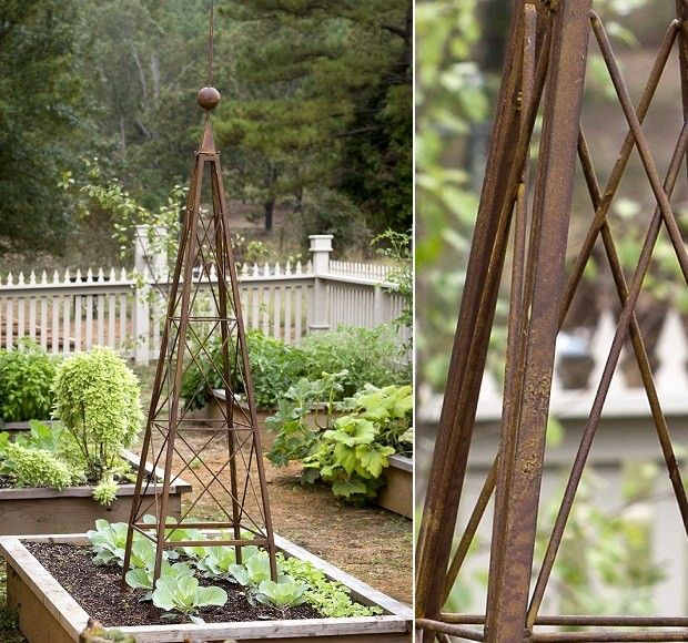 Pyramid Obelisk Garden Trellis folds for easy assembly