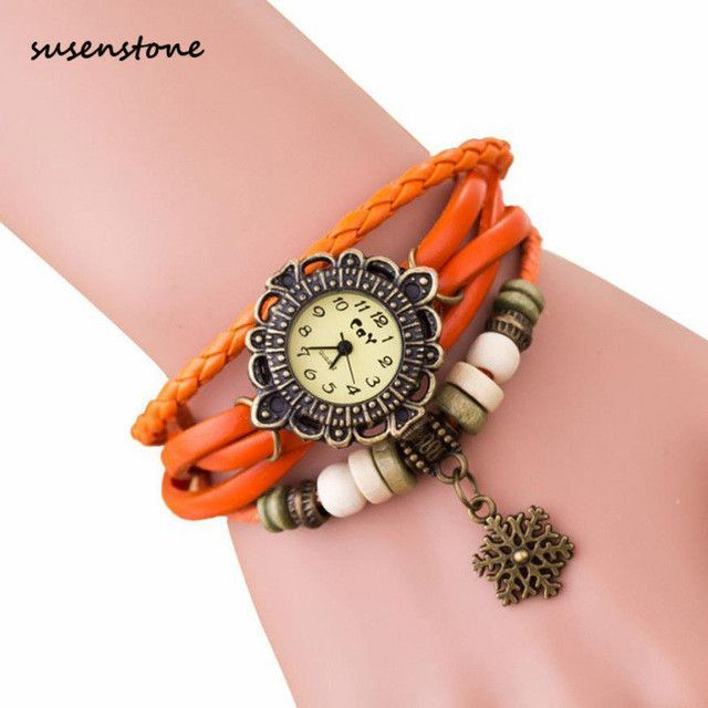 Susenstone Women Quartz-Watch Fashion Women Watches Weave Around Women Snowflake Bracelet Watch Clock Relogio Feminino kol saati