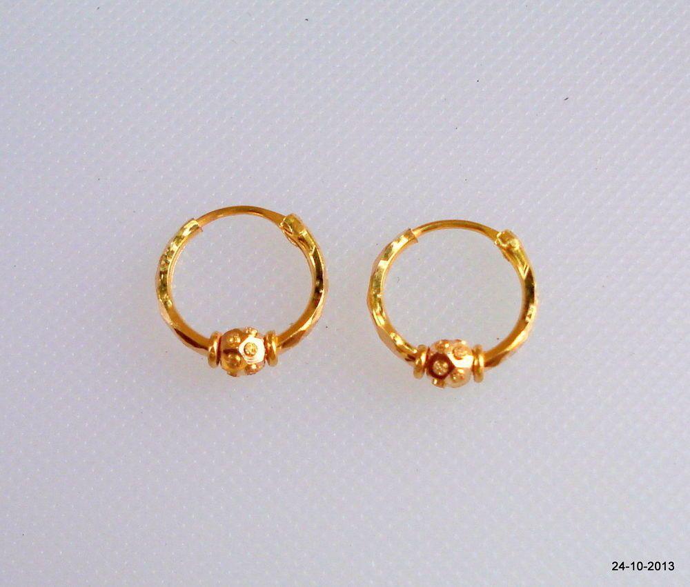 Traditional Design 20k Gold Earrings Hoop Uni Infant Ert Ehs