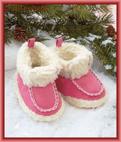 Baby-Booties-Pink-Micro-Suede-Faux-Shearing-Infant-6-to-9-Months-Non-Slip-Soles