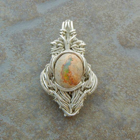 Goddess. Heady Sterling Silver Opal Pendant Necklace by BlackwolfJewelry, $250.00