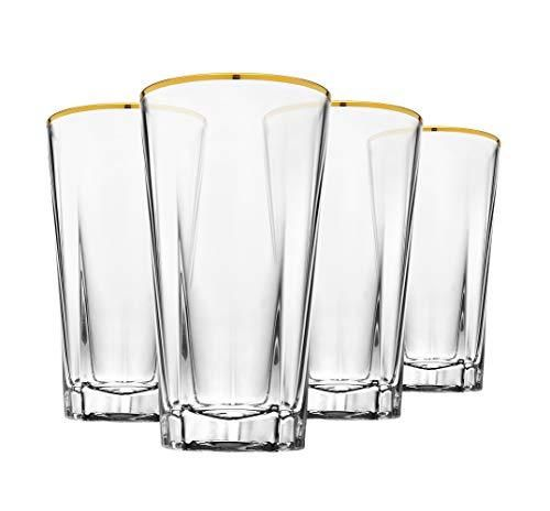 Godinger Highball Glasses, Beverage Glass Cups, Gold Rim- 10oz, Set of 4 – Clear