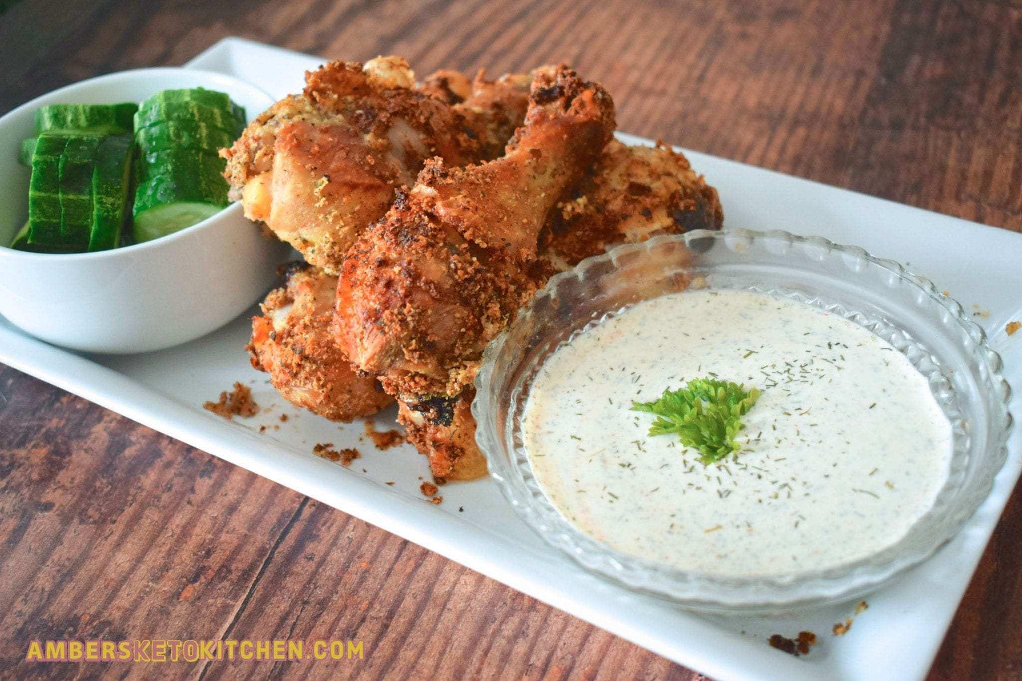 Keto Air Fryer Pickle Brined Fried Chicken Drumsticks with