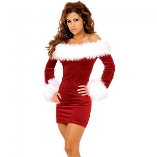 Women Sexy Xmas Miss Santa Claus Costume Christmas Fancy Dress Plus