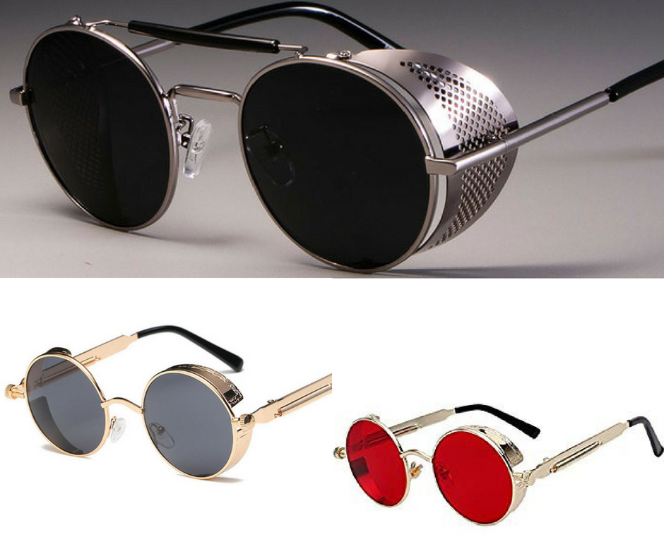 8bf917a5980 Retro John Lennon inspired Round Steampunk Mirrored Sunglasses with side  shield that serves as dust blocker