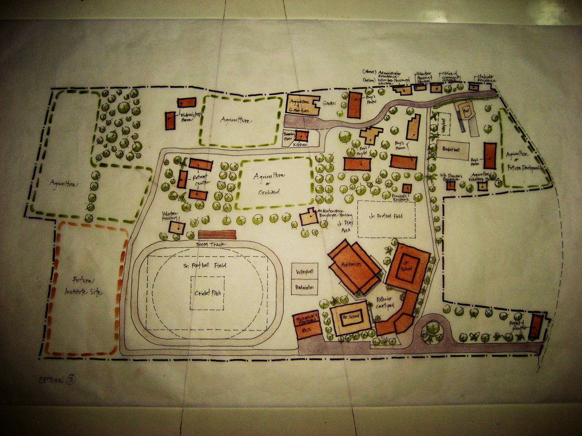 Schematic design sketch done on site · school designmaster plan