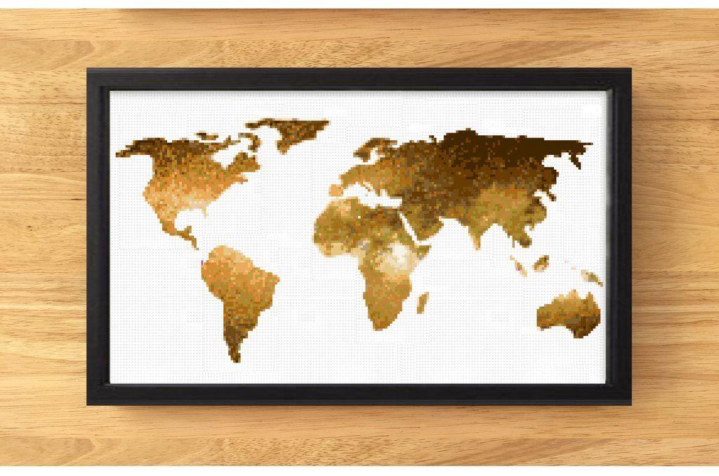 World map cross stitch decor pattern pdf gold golden modern world map cross stitch decor pattern pdf gold golden modern gala gumiabroncs Image collections