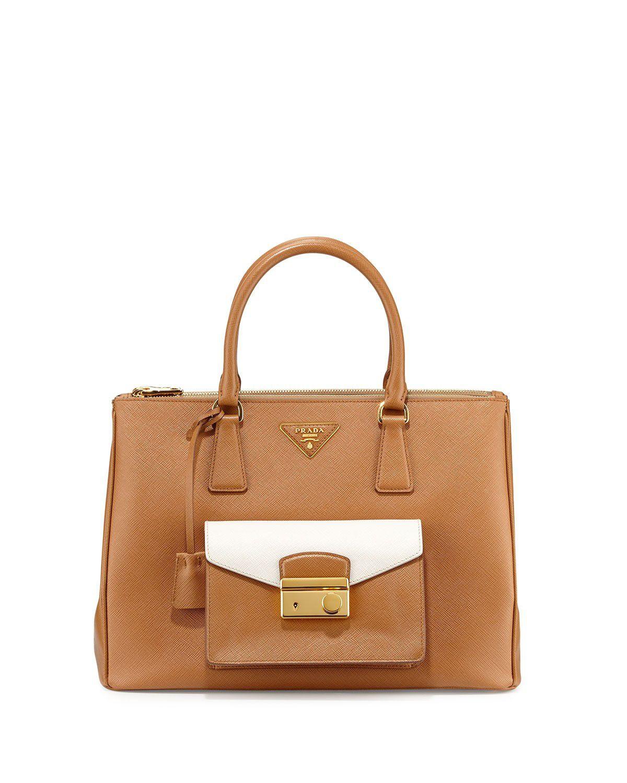 eef10a4be3f2 Prada Saffiano Galleria Tote with Pocket BrownWhite  bags