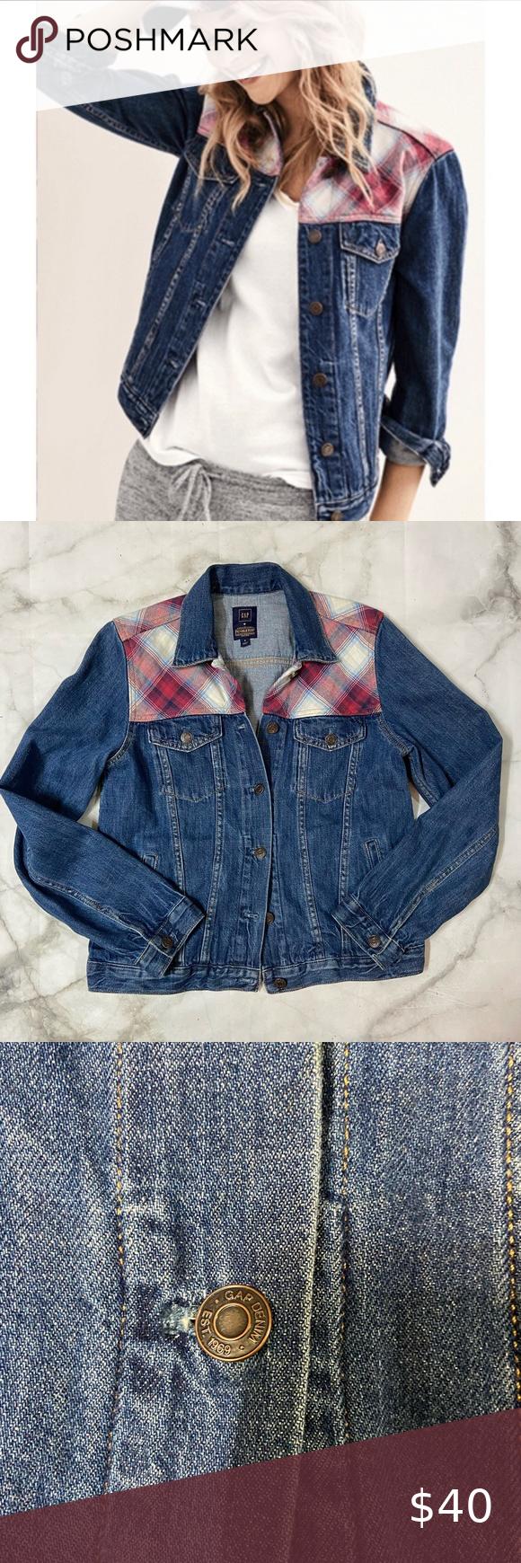 Gap Pendleton Jean Jacket With Flannel Detail Cotton Twill Jacket Coats Jackets Women Blue Denim Jacket [ 1740 x 580 Pixel ]
