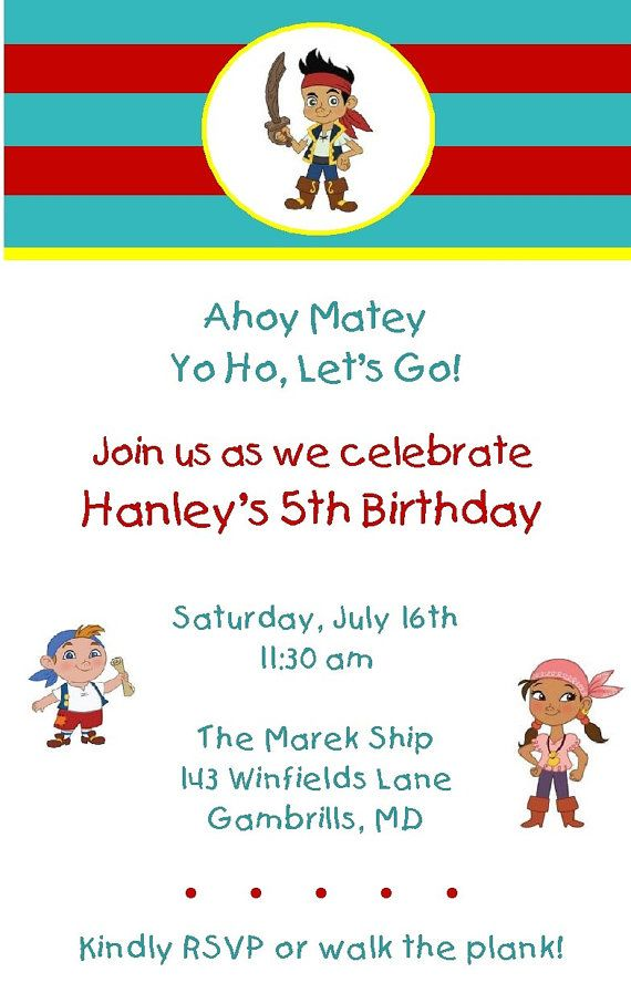 Jake and the Neverland Pirates Party Invitations | Doms bday ...
